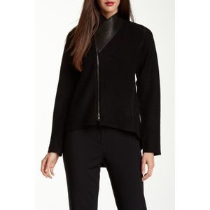 Eileen Fisher merino wool and leather jacket